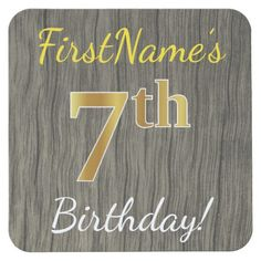 Faux Wood, Faux Gold 7th Birthday + Custom Name Square Paper Coaster