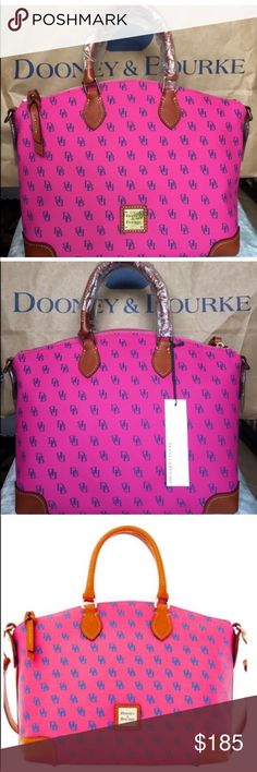 "Final sale Dooney & Bourke Gretta Satchel Brand new with tag. Color: Fuchsia Blue                          Measurement H 9.5"" x W 7"" x L 11.25""            One inside zip pocket. Two inside pockets.     Cell phone pocket. Inside key hook. Adjustable and detachable strap. Handle drop length 4"". Strap drop length 13"". Lined. Feet. Zipper closure. No dust bag. No trades.    100% authentic Dooney & Bourke Bags Satchels"