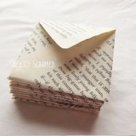 3 x 3 mini envelopes book pages upcycled