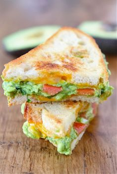 Guacamole Grilled Cheese with Garlic, Lime, Cilantro, and Cheddar Cheese.