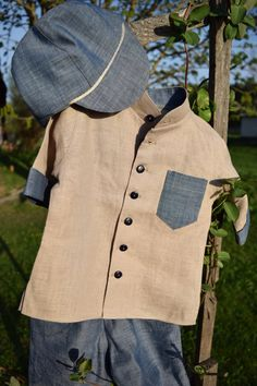 Boys linen shirt natural short sleeved shirt boys shirt by EcoEmi