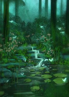 51 Enigmatic Forest Concept Art That Will Amaze You Fantasy Landscape, Landscape Art, Fantasy Art Landscapes, Pond Drawing, Casa Anime, Fantasy Background, Fantasy Kunst, Environment Concept Art, Anime Scenery