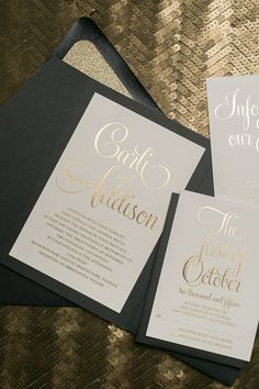 BAILEY Suite Glitter Pocket Folder Package, gold foil stamping, gold glitter, black and gold, black tie wedding invitations, invitation in pocket folder