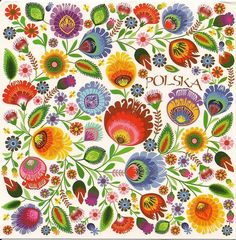 Polish Folk Art Flowers Postcard  Love all the colour in this