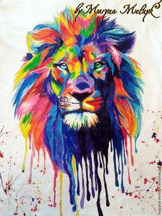 """Купить Футболка с росписью """"Цветной Лев"""" - рисунок, роспись на футболке, роспись одежды, лев, радужный"""