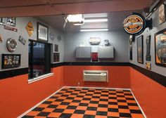 Mens Small Garage Paint Ideas Orange And Black