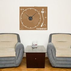 Style and Apply Turnable Wall Clock Wall Decal Color: Yellow