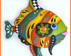 "Painted Metal Art, 34"" - Tropical Fish Wall Hanging, Tropical Art, Metal Wall Art, Beach Decor, Tropical Decor, Garden Decor - J-450YL-34"