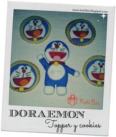 Galletas de mantequilla y Topper de tarta Doraemon www.kukibox.blogspot.com