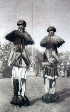 Africa | Masqueraders in Cameroon.  Publisher Dillen et Cie || Scanned postcard