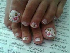 Lovely for summer Toe Nail Art, Toe Nails, Pretty Toes, Pretty Nails, Mani Pedi, Manicure And Pedicure, Cute Pedicures, Nail Envy, Toe Nail Designs