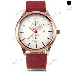 Fashion Big Round Case Calendar Hit Color PU Leather Watch Band Quartz Men Watch Sub-dials for Decor WWT-425535