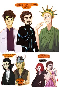 Avengers go out for Halloween [Banner as Dr. Frankenstein/monster, Tony is from Tron, Cap as Lady Liberty, Loki is Dracula, Thor is a Norse, Widow is a spider, and Hawkeye as Cupid.