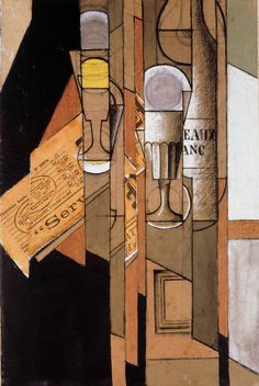 """Glasses, Newspaper and Bottle of Wine"".Artist: Juan Gris Style: Synthetic Cubism Genre: still life. Abstract Expressionism, Abstract Art, Synthetic Cubism, Francis Picabia, Sonia Delaunay, Wine And Canvas, Cubism Art, Georges Braque, Spanish Painters"