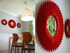 Fantastic and easy DIY: Chrysanthemum Starburst Mirror - made with plastic SPOONS!