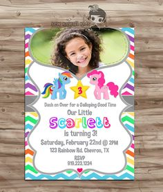 My Little Pony PHOTO Birthday Invitation My by SewKawaiiKids, $10.00