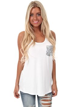 Lime Lush Boutique - White Bow Back Tank with Sequin Pocket, $26.99 (http://www.limelush.com/white-bow-back-tank-with-sequin-pocket/). #style #chronicleblog #lovefashion #new #fashionblog #instafashion #photomodel #beauty #trend #queen #day #us #follow #girl #dress #princess #look #lookbook #like #beautiful #cute #sexy #iphonesia