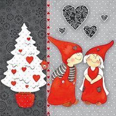 Ambiente, People - children, Christmas - Christmas-tree, Christmas, lunchnapkins, heart, children, christmas tree