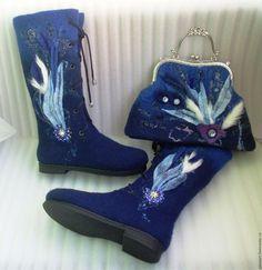 """Обувь ручной работы. Ярмарка Мастеров - ручная работа. Купить Валяные сапожки """"Синева небес"""". Handmade. Тёмно-синий"""