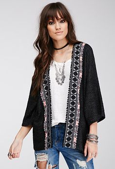 inspiration--Embroidered Open-Front Cardigan | Forever 21 - 2000055813