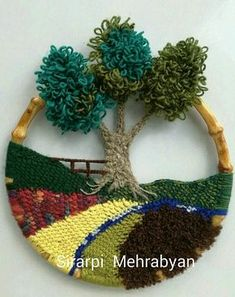 ON SALE Crochet Wall Hanging Crochet landscape wall art crochet picture Home decoration Mother day gifts Valentines day gift Fiber Art Crochet Wall Art, Crochet Wall Hangings, Crochet Home, Crochet Gifts, Weaving Projects, Weaving Art, Tapestry Weaving, Loom Weaving, Art Textile