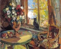 Black cat on a windowsill  - Konstantin Korovin