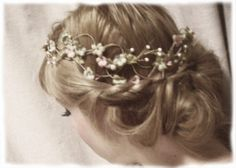 flower crown, birds and fresia vintage style crown