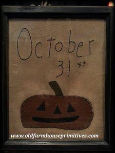 "Primitive Framed Cross Stitch ""October 31st"""