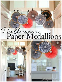 Halloween Paper Medallions - Finding Home.  A simple an easy tutorial for creating a simple decoration for any party or holiday.  #DamageFreeDIY #ad