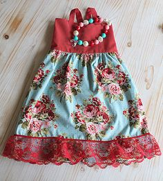 Shabby chic Blue and Red Lace dress and matching by PalestPink, $65.00