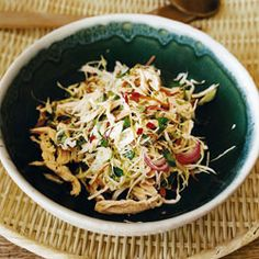 Spicy Cabbage and Chicken Salad by Saveur. With cool, crunchy cabbage and a zesty Asian dressing, this is not your ordinary chicken salad.