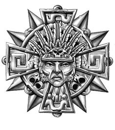 Mayan Tattoos, Celtic Tattoos, Tribal Tattoos, Chicano Drawings, Chicano Art, Aztec Warrior Tattoo, Aztec Drawing, Aztecas Art, Aztec Symbols