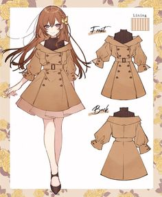 Anime Girl Dress, Anime Girl Cute, Kawaii Anime Girl, Kawaii Art, Drawing Anime Clothes, Anime Girl Drawings, Outfit Drawings, Manga Clothes, Fashion Design Drawings
