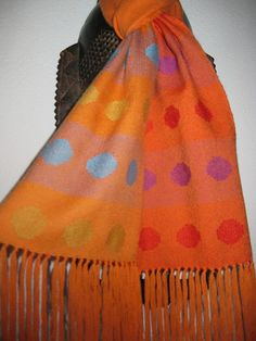 Handwoven Wool Scarf with Spots by tisserande, via Flickr