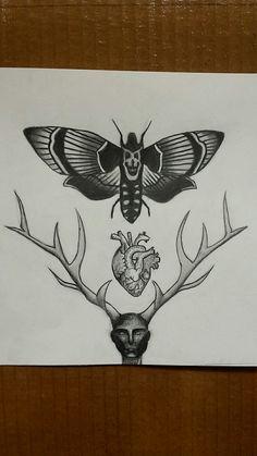 @annaanikienko #hannibal #heart #drawing #moth #antlers
