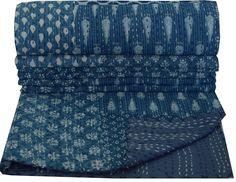 Indian Kantha Quilt Block Print Floral Patchwork Bedspread Blanket Twin Throw
