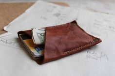 Thin river wallet: brown leather bag / pouch-SR