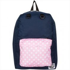 Henley Navy Backpack with Polka Dots Pink Pocket by Attacha Pack