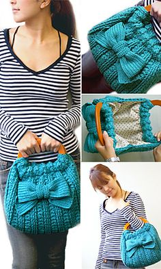 Crochet bow bag -- so pretty!