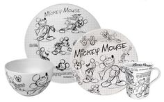 """Mickey Mouse """"Sketchbook"""" dishes...how adorable are these. I would want to get out the colors!!!"""
