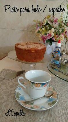 DIY prato para bolo/cupcake.  Cole com cola de silicone uma taça de sobremesa a um prato oitavado.