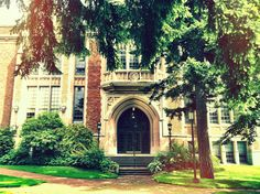 Beautiful entrance on building at University of Washington campus