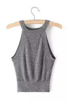 Grey Crew Neck Cropped Top with Knit Design