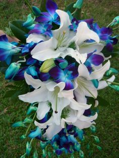White Oriental Lily & Blue Singapore Orchids. The blue/purple orchids are my favourite flower! They are spectacular!