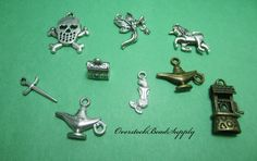Fantasy Charm Collection Unicorn Mermaid Aladdin's Genie Lamp Fairy Wishing Well Treasure Chest Charms 9 Pieces 9030 by OverstockBeadSupply on Etsy