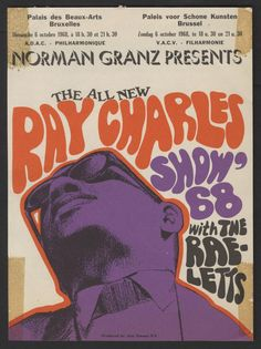 Poster for The All New Ray Charles Show 68 at the Paleis voor Schone Kunsten in Brussel, Oct. 6, 1968.