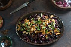 made with gorgeous Rancho Gordo ayocote negro beans, and pan-fried ...