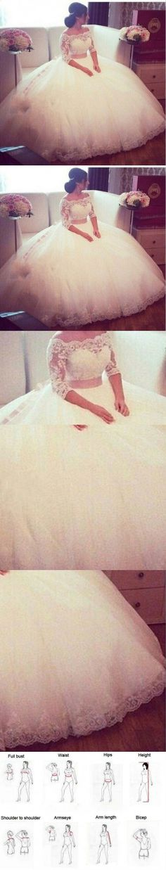Plus Size Lace Wedding Dresses 2016 Ball Gown Boat Neckline Half Sleeves Wedding Dress Tulle Floor Length Bridal Gowns Custom