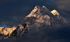One of the five peaks of 'Panchchuli' in Kumayun Himalayan range as seen in the early morning from Munsiyari, Uttarakhand, India.