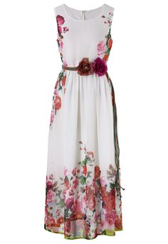 White Floral Blooming Maxi Dress